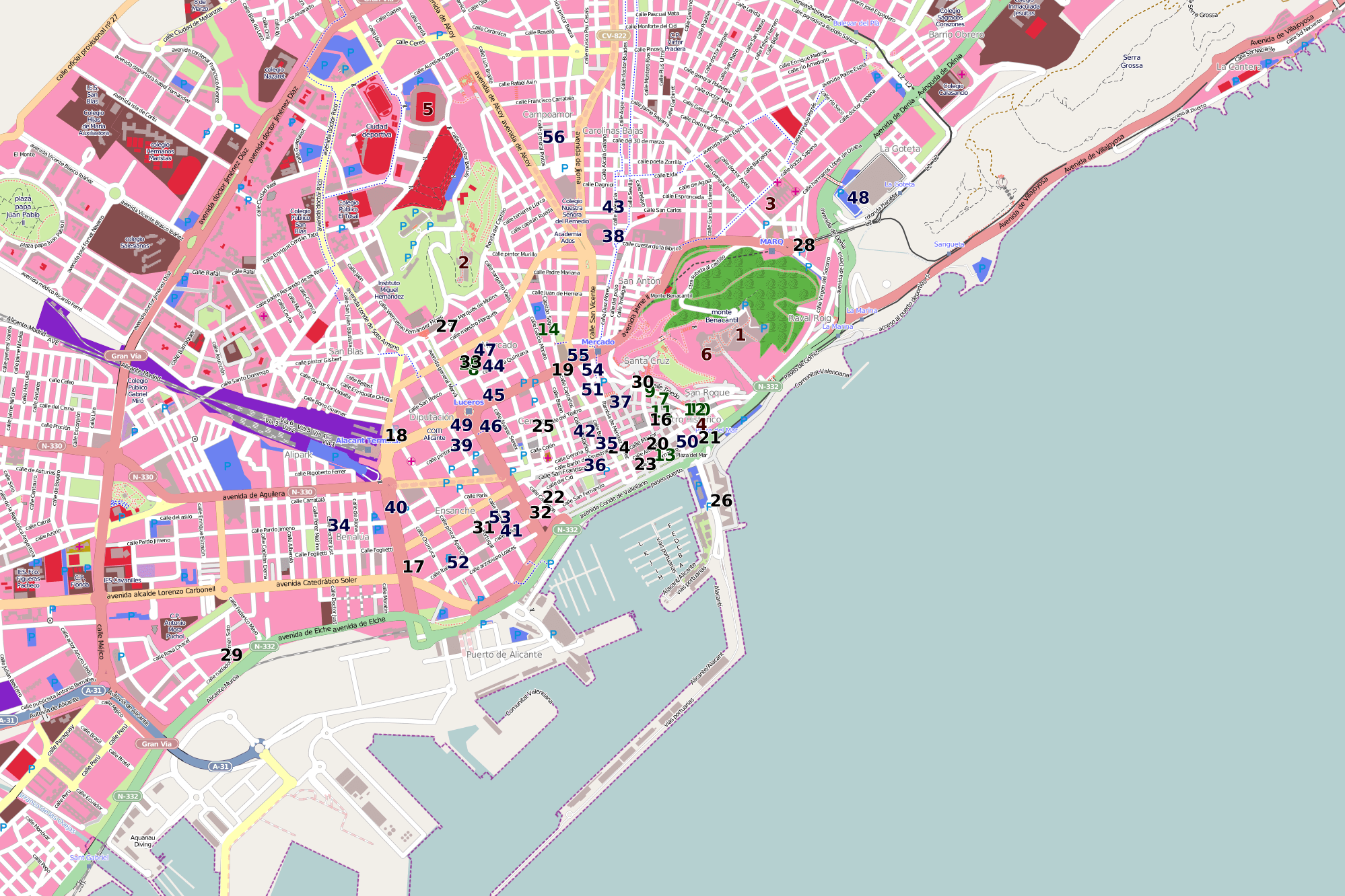 Map Of Alicante City Guide & Map   Alicante